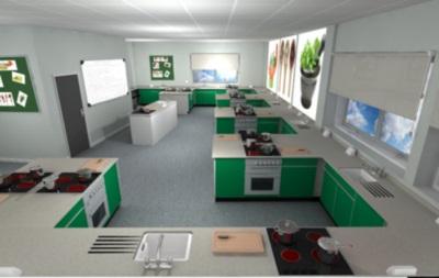 3D rendering of Food Tech with rectangular peninsular benching