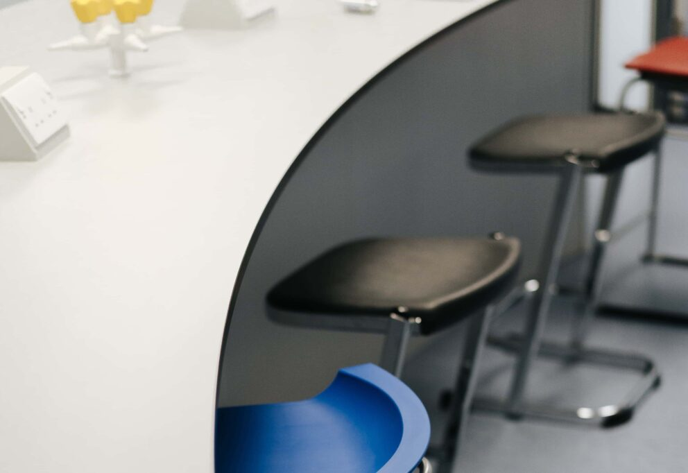 S+B worktop and row of stools