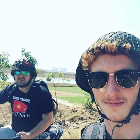 Josh Arnold and Gareth Howard during a Lab Furniture Project in Vietnam